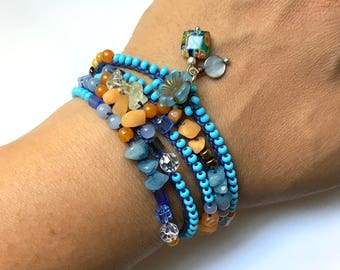 Blue and gold beaded wrap bracelet or necklace, crochet, bohemian jewelry, crochet jewelry, bead crochet, boho bracelet, coffycrochet