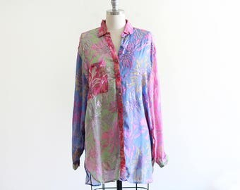 Vintage Exquisite Judith Ann Creations Silk Chiffon Sequined Blouse / Oversized Fit / Multi colored