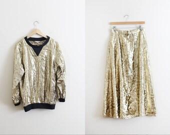 Vintage HALSTON III Gold Lame Skirt Set / Gold Metallic Skirt / High Fashion Avant Garde / Statement Piece  M