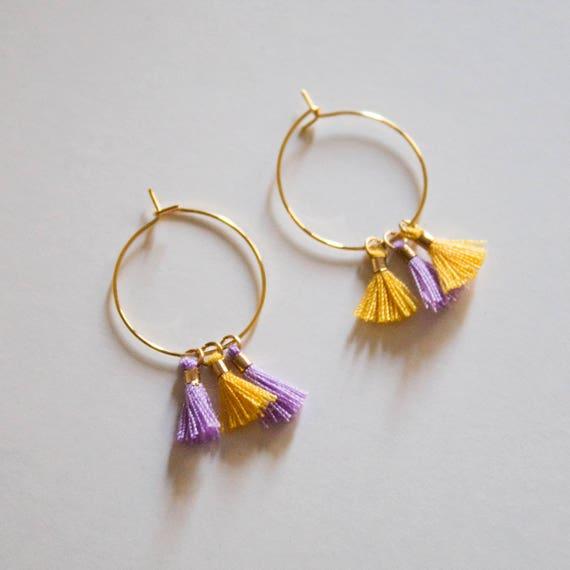 the Laurel 2.0 -earrings (small halo hoop earrings with tassel minimal every day 16k gold plated)