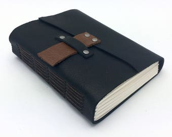 Black Leather Sketchbook, Journal, In Stock, 6 x 4 1/2 inches