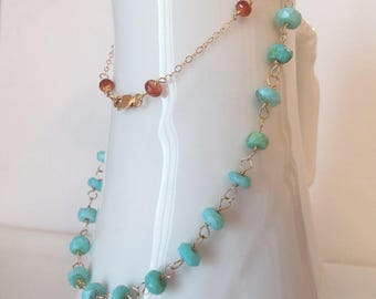 Peruvian Opal Wire Wrapped Necklace with 14kt Gold Fill and Mandarin Garnet