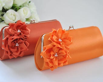 Orange / Burnt Orange - Bridesmaid Clutch / Bridal clutch / Wedding clutch / Custom clutch