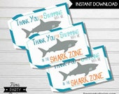 Shark Birthday Party Printable Favor Tags by Fara Party Design |Shark Under the Sea Party |Boy Birthday | Mini Treat Bag Toppers