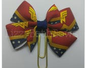 Planner clip, bookmark, planner bow clip, bow bookmark, wonder woman bow, super hero bow, red blue yellow