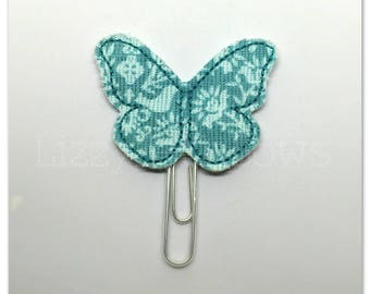 Beautiful floral butterfly Planner clip, bookmark, planner bow clip, bow bookmark, teal, light teal floral butterfly