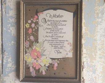 VINTAGE Mother Print - Poem - Sentiment - Wall Art