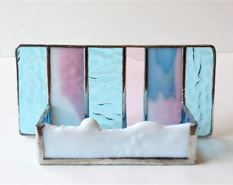 Interior Design Modern Stained Glass Desk Accessories Contemporary Business Card Holder Aqua Blue Pink White Office Decor Doula MidWife Gift