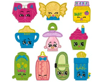 SHOPKINS 3 - Machine Applique Embroidery - 10 Patterns in 3 Sizes - Instant Digital Download