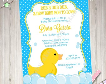 Rubber Duck Baby Shower Invitation Invite Rubber Ducky Baby sprinkle Baby Boy Blue and Yellow Printable Invitation