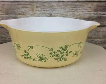 Pyrex Shenandoah 475-B Casserole Dish, Yellow & Green Floral Pyrex, Vintage Pyrex
