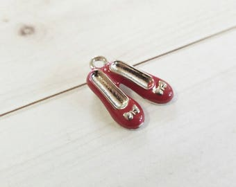 Ruby Slipper Charm Ruby Red Slippers Red Slippers Charm Red Shoe Charm Enamel Charm Fairy Tale Charm