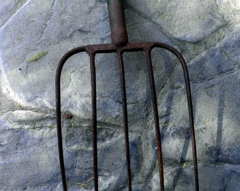 Old Pitch Fork, Farm/Country decor, Rusty Patina and green paint