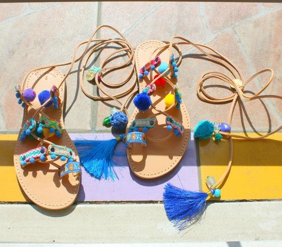 Pompom Sandals/Boho sandals-Gypsy sandals-Hippie sandals-Pompom sandals