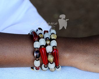 Red and Grey layered African bracelet,Red Beaded bracelet,African Beaded Bracelet