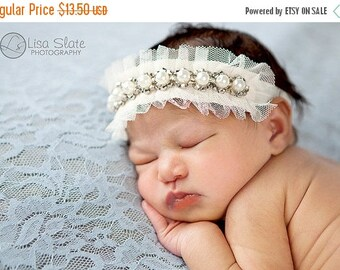 12% off Baby headband, newborn headband, adult headband, child headband and photography prop Pretty pearly headband