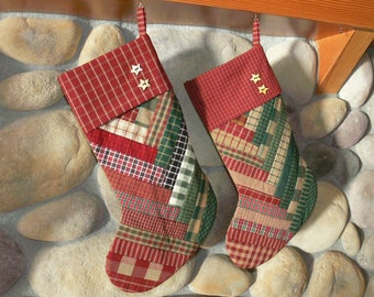 Homespun Strip Quilted Christmas Stocking, Primitive, Rustic, Homespun Decor, Homemade, Left Pointing Toe