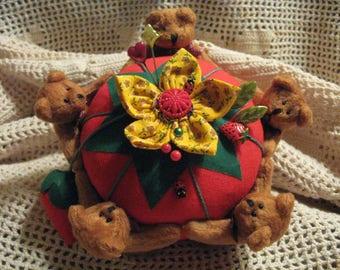 Teddy Bears Pincushion // Ring Around the Pin Cushion// Large Classic Tomato Pincushion// Teddy Bear Sewing Notions// Novelty Pin Cushion