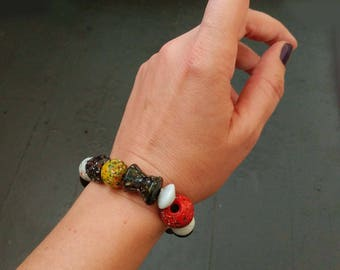 Multi-Colored Chunky Glass Bead Stretch Bracelet Red, Yellow, Blue, White, Black Bracelet