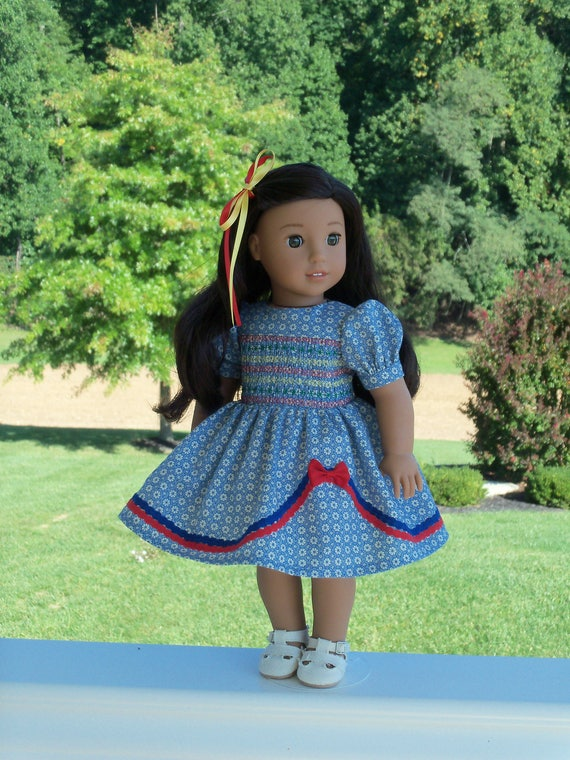 "18"" Size /  Nanea's 1940s Smocked  School Dress / Clothes  for 18"" American Girl® Dolls"