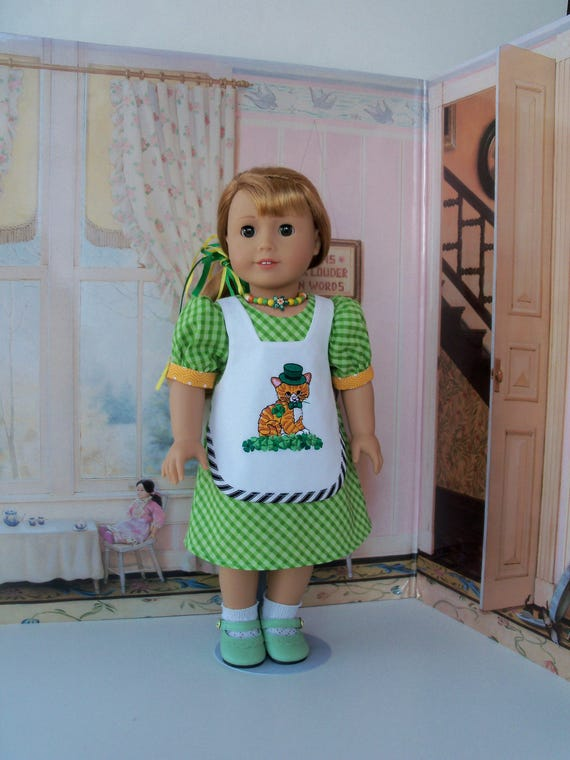 """CLEARANCE SALE!  / Fits Like 18 Inch American Girl Doll Clothes / Embroidered St Patrick's Day Dress and Shoes for 18"""" Dolls"""