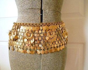 Vintage wide brass coin Belly dancing Belt