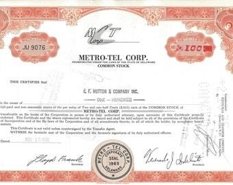Vintage Metro-Tel Corp. Original Stock Certificate (orange), 1970s