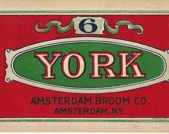 Vintage Amsterdam Broom Co. York No. 6 Lithograph Broom Label, 1920s