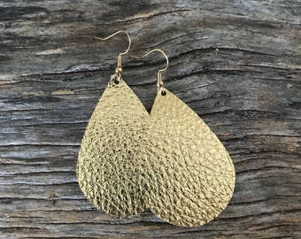 Leather Teardrop earrings - Gold