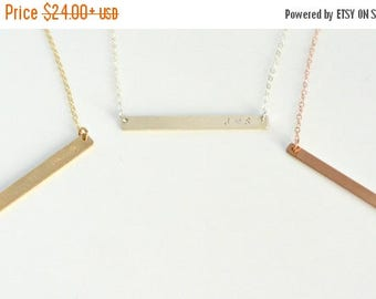 SALE - Skinny Bar Necklace, Personalized Thin Name Bar Necklace, Initial Necklace, Couples Necklace, BFF Necklace, Silver, Gold, Rose Gold N