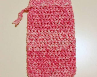 Pink and White Crocheted Drawstring Pouch - Ready to Ship
