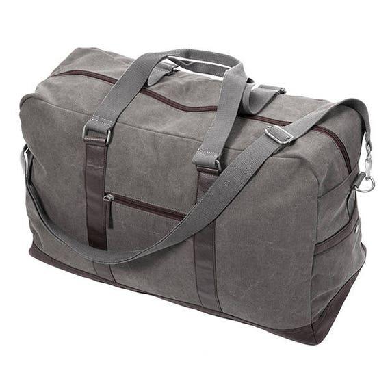 Large Washed Canvas Duffel in Steele Grey