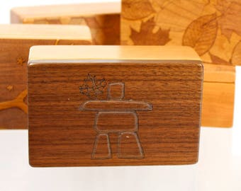 Inukshuk Pattern Wooden Storage Box 5-3/8 x 3-3/8, SB33 Cube, Solid Cherry and Walnut -Laser Engraved, Paul Szewc, Masterpiece Laser