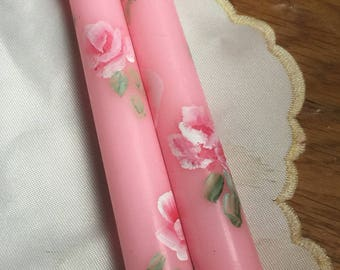 Hp candles roses pink candles  taper pair shabby chic