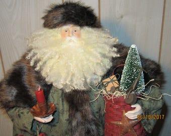 Primitive Christmas Decor Adirondack Santa Clause, Father Christmas, St. Nick, Santa Claus with Sled, Candle, Basket from Darlas Closet