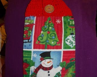Christmas kitchen towel with crochet hanging top - CTH