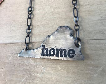 Home Virginia shaped Nickel Silver necklace