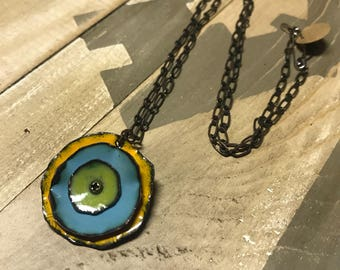 Sale! Kiln fired Enamel Poppy Necklace green, blue and yellow