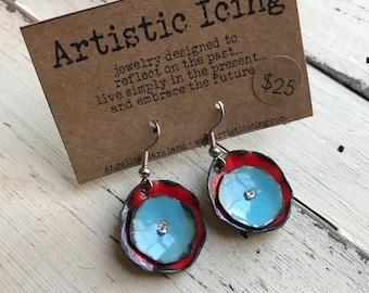 Colorful Poppy aqua and red kiln fired enamel earrings