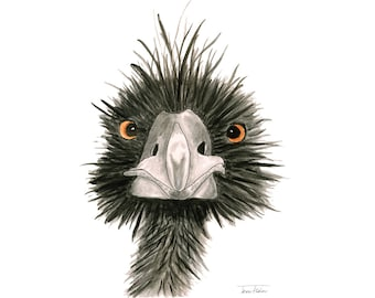 Black ostrich art print, wild bird face mugshot picture, illustration, watercolor painting sketchbook art, exotic animal, wildlife outdoors