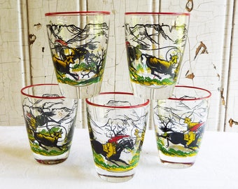 Vintage Libbey Cowboy Juice Glasses - Set of Five - Western Cattle Drive - Cowboy on Horse Roping Calf - Western Scene - Mid-Century 1960s