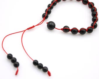 8mm Obsidian Gem Tibet Buddhist Prayer Beads Mala Bracelet  S029
