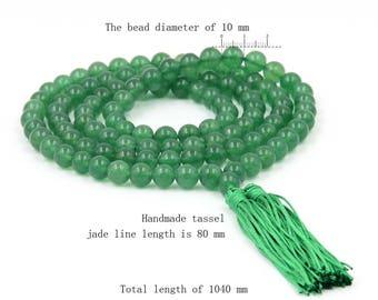 10mm Tibet Buddhist 108 Ayenturine Dong-Ling Stone Beads Prayer Japa Mala Necklace  ZZ073