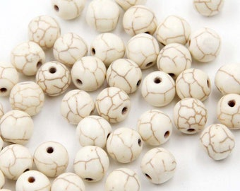 8mm 380Pcs White Howlite Turquoise Beads Loose Finding For Handwork-- ja2077