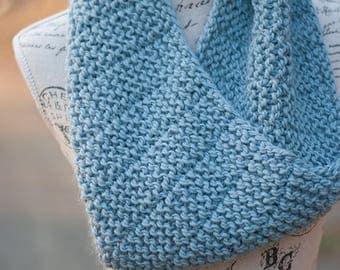 Light Blue Alpaca Knit Cowl - Women's Knitwear