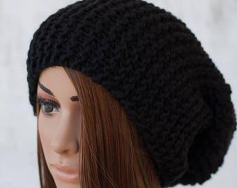 Black Slouchy Knit Hat, Garter Stitch Beanie, Boho Knit Hat, Women's Knitwear, Super Slouchy Knit Beanie, Unisex Knit Hat