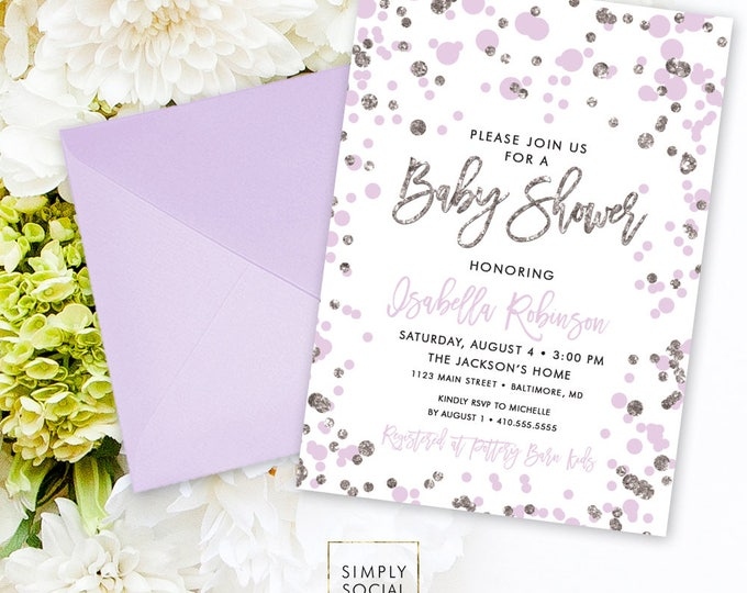 Purple Confetti Baby Shower Invitation - Lilac and Silver Glitter It's a Girl Baby Shower Invitation Faux Glitter Purple Shower PRINTABLE