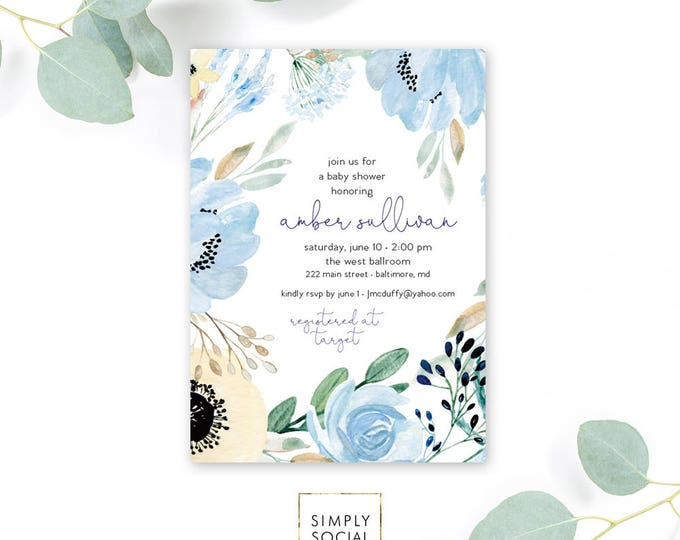 Boho Blue Floral Baby Shower Invitation - Garden Shower - Oh Baby! Greenery Peony Roses Dusty Blue Invitation Watercolor Printable
