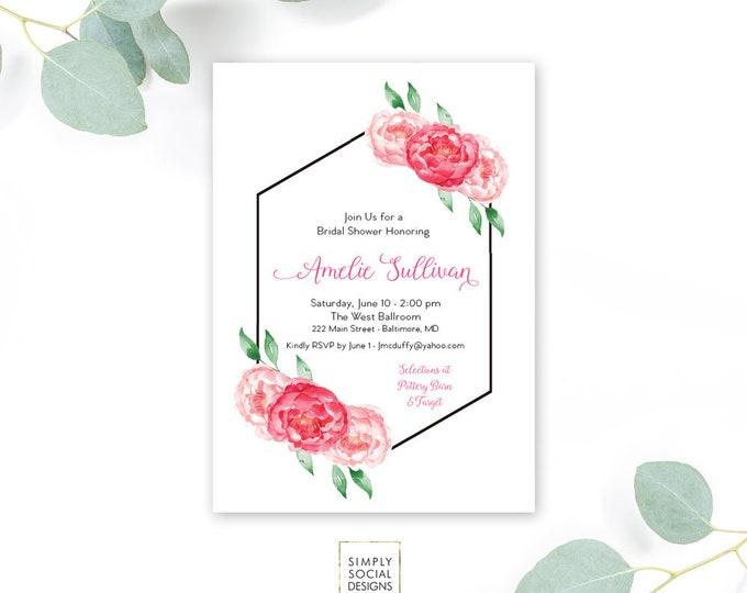 Pink Floral Bridal Shower Invitation - Pink Peony Ranunculus Geometric Watercolor Floral Boho Shower Invitation Printable