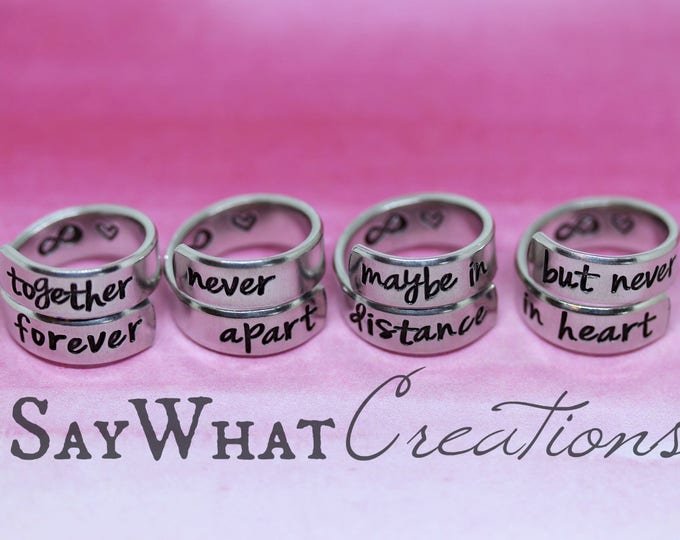 Wrap Rings Set of 4 Together Forever Never Apart Maybe in Distances but Never in Heart